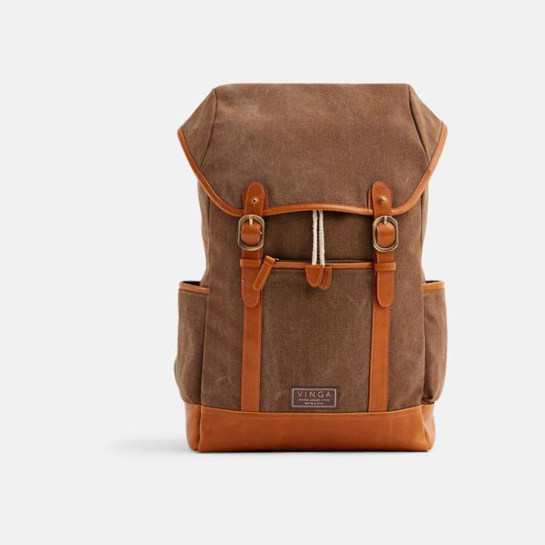 Brun Clifton canvas ryggsäck från Vinga med egen logga