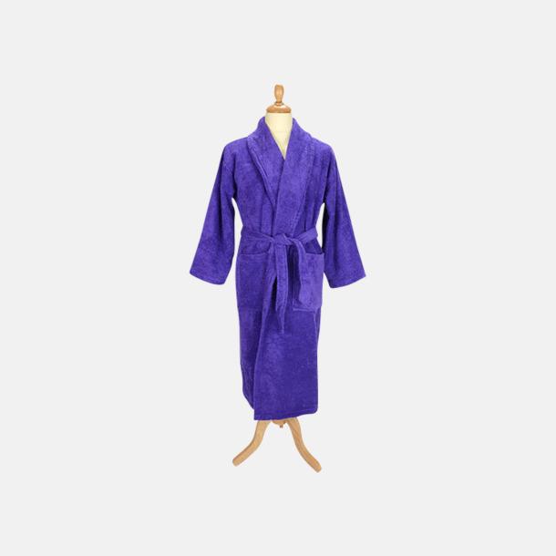 Lila (mörk) Färgglada badrockar med reklambrodyr