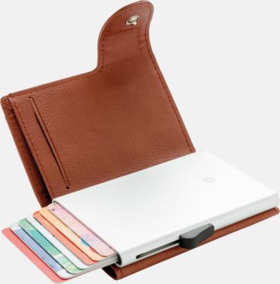 Brun / Silver RFID-säkra korthållare med plånbok - med reklamtryck