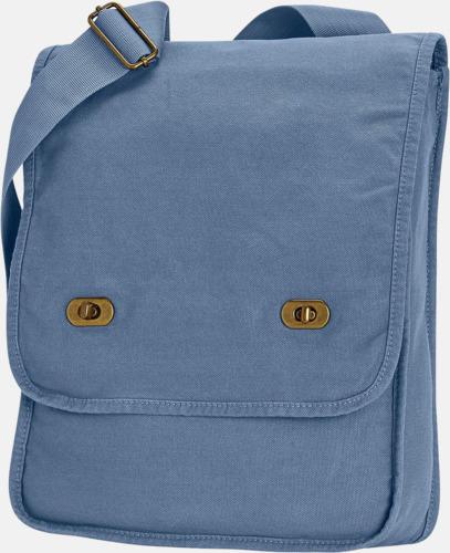 Blue Jean Axelväskor i jeansliknande bomull med reklamtryck
