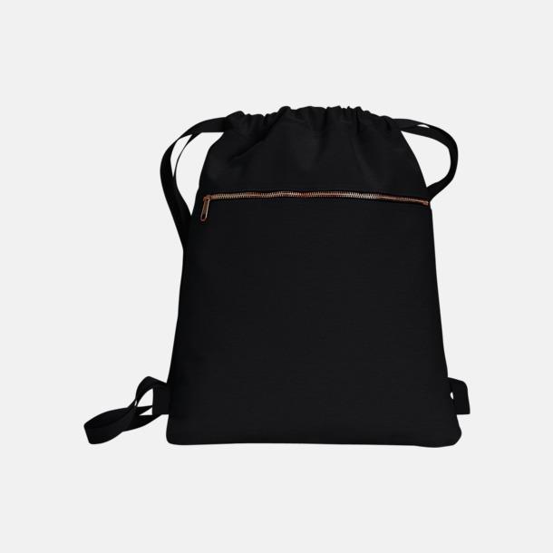 Svart Trendiga ryggsäckar med reklamtryck