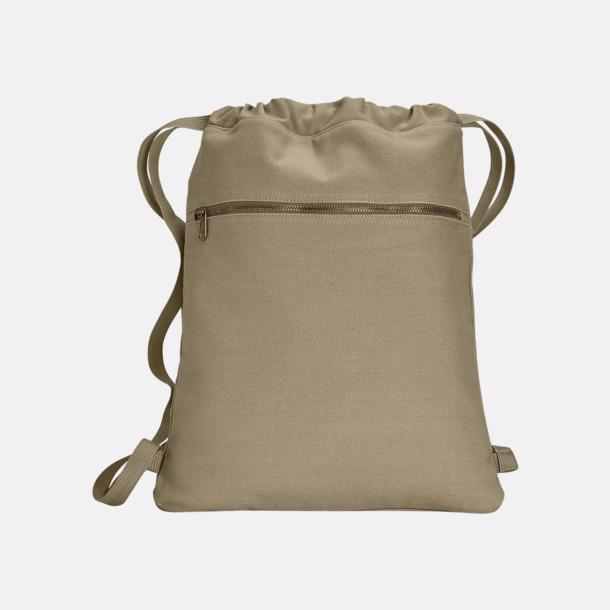 Khaki Trendiga ryggsäckar med reklamtryck
