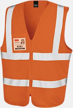 Fluorescerande orange Blixtlåsförsedda reflexvästar med reklamtryck