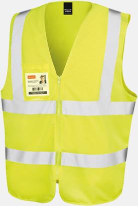 Fluorescerande gul Blixtlåsförsedda reflexvästar med reklamtryck