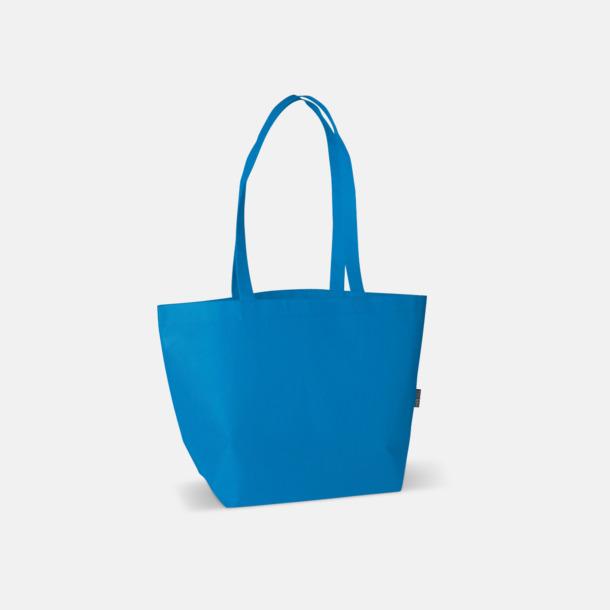 Blå Non woven tygpåsar med reklamtryck