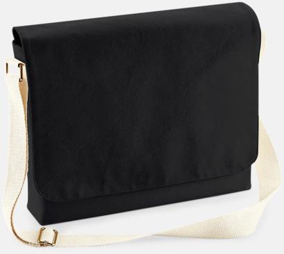 Svart (standard) Fairtrade-certifierade väskor i 3 storlekar med reklamtryck