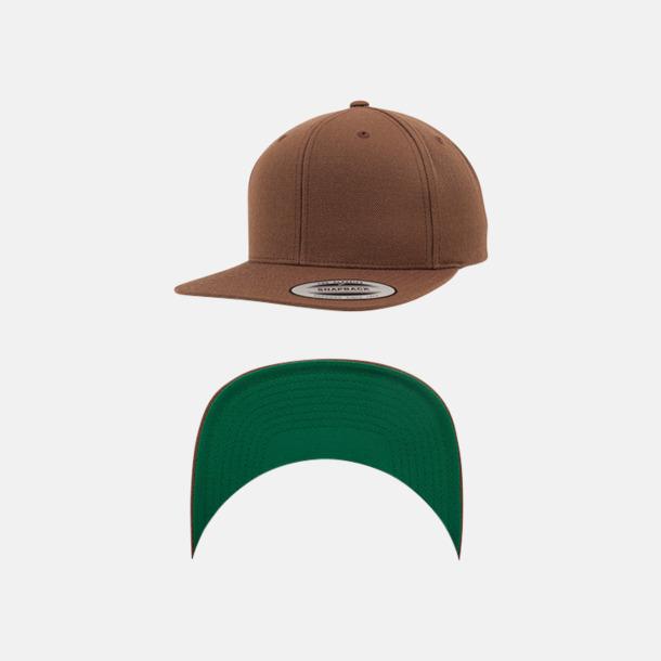 Tan/Grön Snapback kepsar med flexfit - med reklamtryck