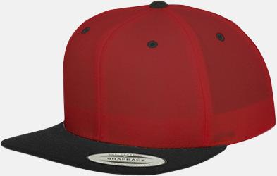 Röd/svart Snapback kepsar med flexfit - med reklamtryck