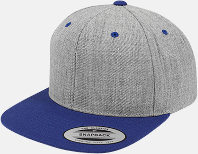 Heather Grey/Royal Snapback kepsar med flexfit - med reklamtryck