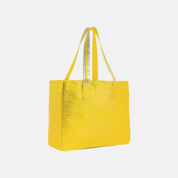 Gold/Vit Stora shoppingbagar med reklamtryck