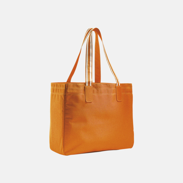 Orange / Vit Stora shoppingbagar med reklamtryck