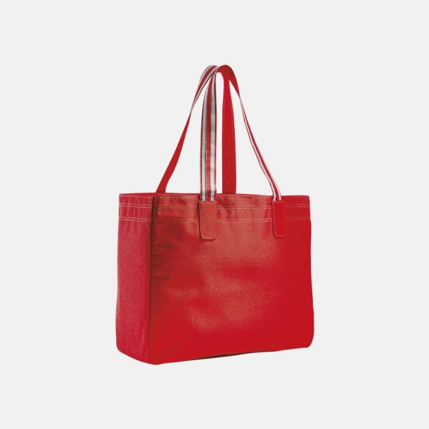 Röd / Vit Stora shoppingbagar med reklamtryck