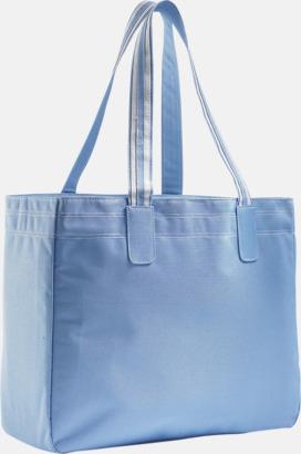 Sky Blue/Vit Stora shoppingbagar med reklamtryck