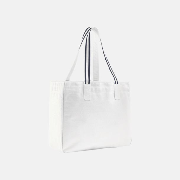 Vit / Marinblå Stora shoppingbagar med reklamtryck