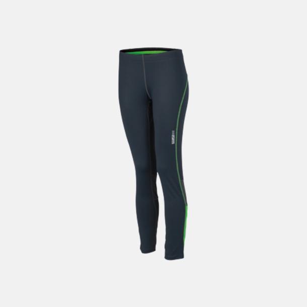 Iron Grey/Grön Långa löpartights för damer med egen logga