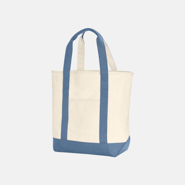 Ivory/Blue Jean Tjocka bomullspåsar med kardborre - med reklamtryck