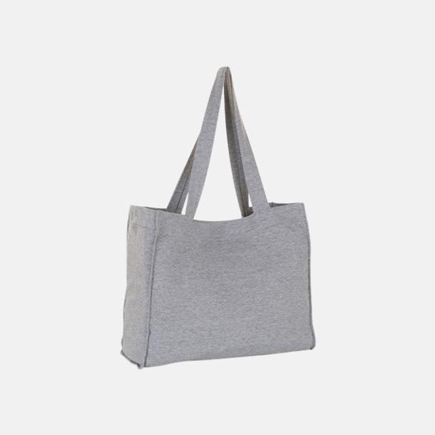 Grey Melange Tygkassar med kardborre - med reklamtryck