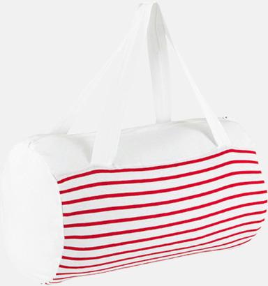 Vit / Röd Randiga väskor med reklamtryck