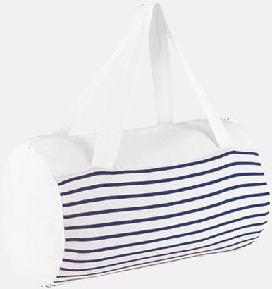 Vit / Marinblå Randiga väskor med reklamtryck
