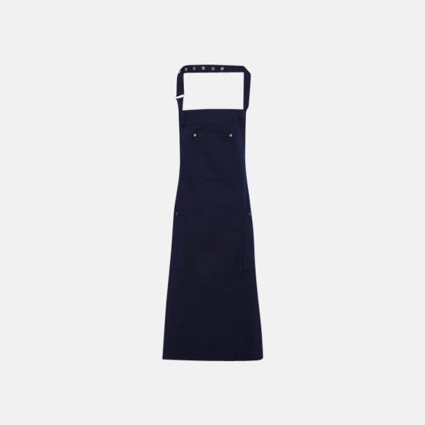 Marinblå Stora chino-förkläden med reklamtryck