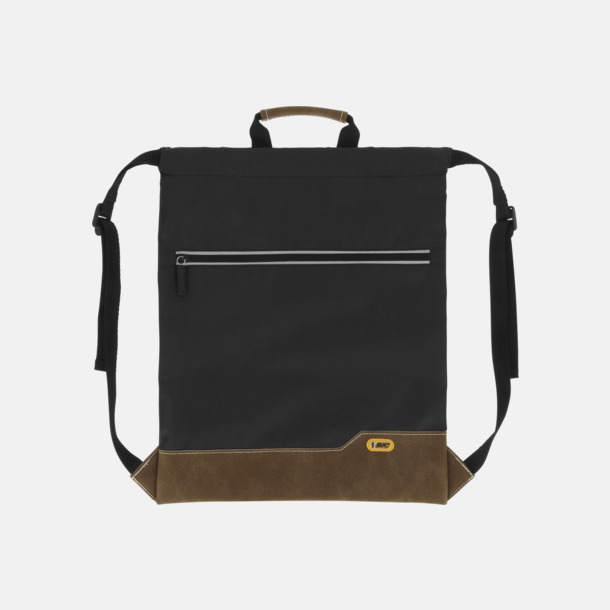 Svart Dragskoförsedda ryggsäckar med reklamtryck