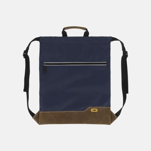 Mörkblå Dragskoförsedda ryggsäckar med reklamtryck