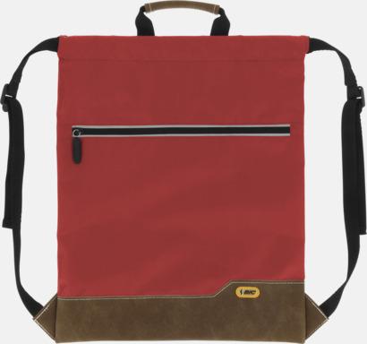 Röd Dragskoförsedda ryggsäckar med reklamtryck