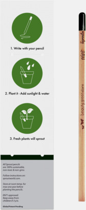 Förtryckt singelförpackning, baksida (se tillval) Planterbara pennor från BIC med reklamtryck