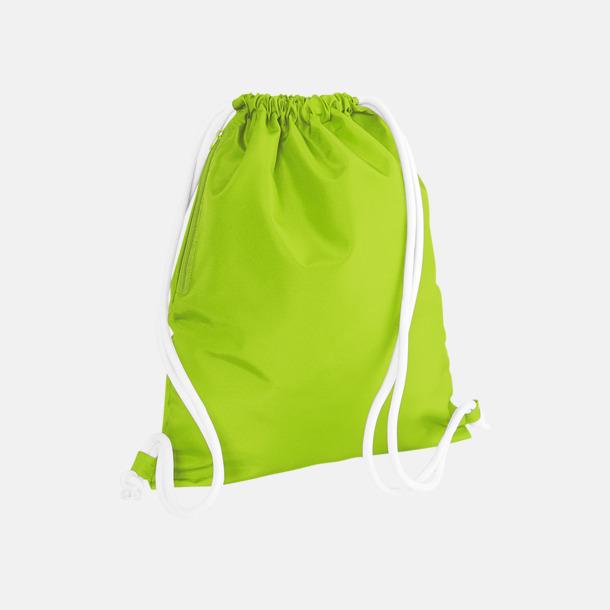 Limegrön/Vit Gympapåsar i spännande färgkombinationer med reklamtryck