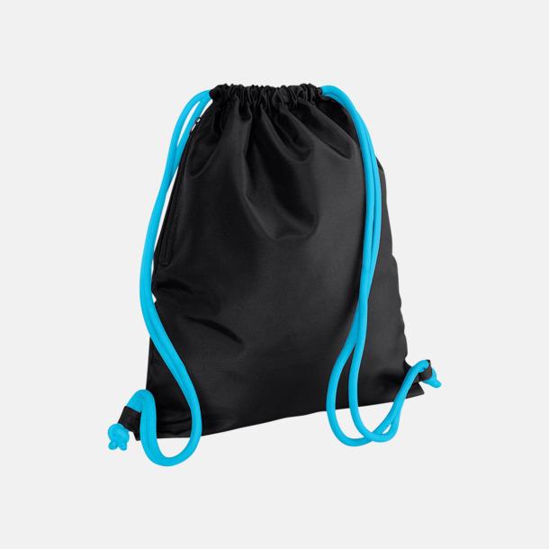 Svart/Surf Blue Gympapåsar i spännande färgkombinationer med reklamtryck