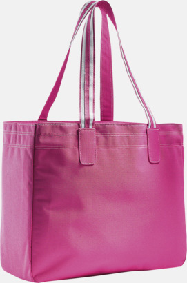 Fuchsia/Vit Stora shoppingbagar med reklamtryck