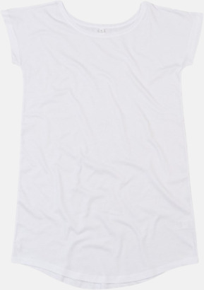 Vit Långa t-shirts i ekobomull med reklamtryck