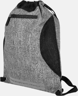 Grey Melange/Svart Finare gympapåsar med reklamtryck