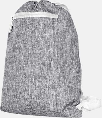 Grey Melange/Vit Melerade gympapåsar med reklamtryck
