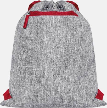 Grey Melange/Röd Melerade gympapåsar med reklamtryck