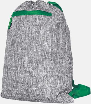 Grey Melange/Grön Melerade gympapåsar med reklamtryck