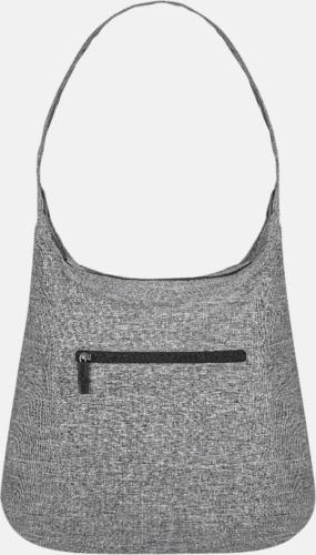 Grey Melange Melerade handväskor med reklamtryck