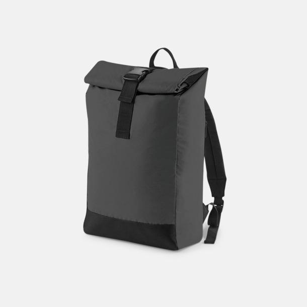 Black Reflective Reflekterande roll-top ryggsäckar med reklamtryck