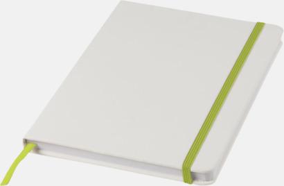 Vit / Limegrön A5-böcker med kontrasterande färger med reklamtryck