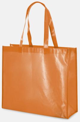 Orange Glansiga non woven-kassar med reklamtryck