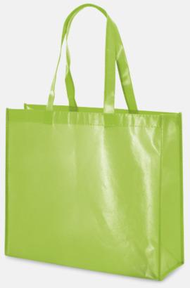 Limegrön Glansiga non woven-kassar med reklamtryck