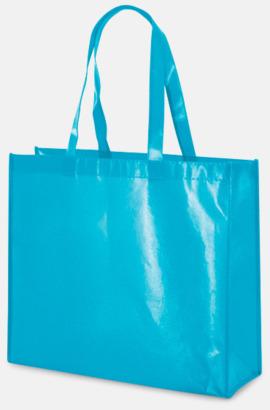 Ljusblå Glansiga non woven-kassar med reklamtryck
