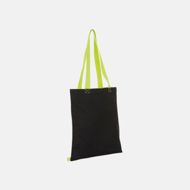 Svart/Neon Lime Tygkassar i flera färgkombinationer med reklamtryck