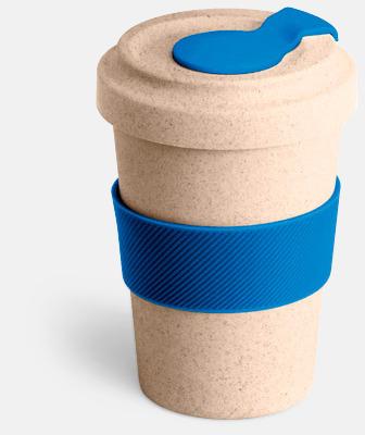 Natur / Blå Take away-muggar i ekobambu & silikon - med reklamtryck