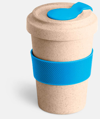 Natur / Ljusblå Take away-muggar i ekobambu & silikon - med reklamtryck