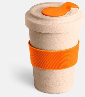 Natur / Orange Take away-muggar i ekobambu & silikon - med reklamtryck