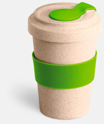 Natur / Limegrön Take away-muggar i ekobambu & silikon - med reklamtryck