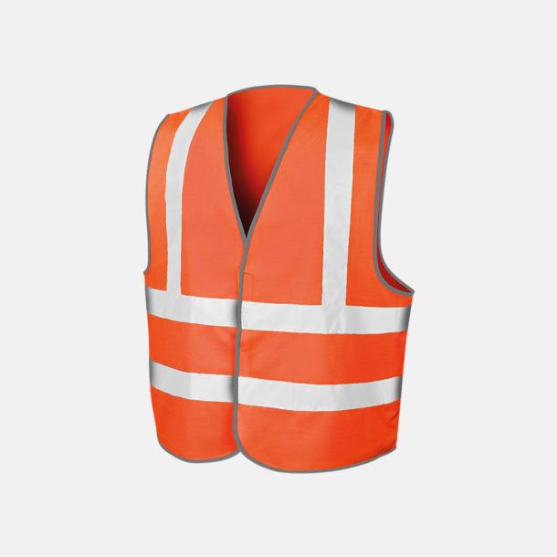 Fluorescerande Orange Certifierade reflexvästar med reklamtryck