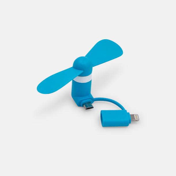 Blå (inkl. adapter) Mobilfläkt för smartphones med egen logga