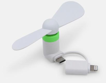 Vit (inkl. adapter) Mobilfläkt för smartphones med egen logga